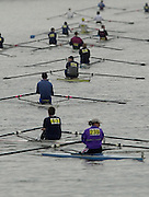 Photo: Peter Spurrier.Tel +44 7973 819 551 - email pictures@rowingpics.com. Rowing Tideway Scullers Head - Mortlake to Putney.Scullers move to the marshalling area before the start of the race.. .. Rowing Course: River Thames, Championship course, Putney to Mortlake 4.25 Miles [Mandatory Credit: Peter Spurrier: Intersport Images]