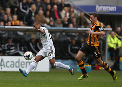 Swansea's Wayne Routledge shoots at goal - Photo mandatory by-line: Matt Bunn/JMP - Tel: Mobile: 07966 386802 05/04/2014 - SPORT - FOOTBALL - KC Stadium - Hull - Hull City v Swansea City- Barclays Premiership
