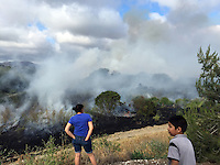 People watch the progress of a large brush fire on Friday in the tinder-dry grass lands between the Constitution Soccer Complex and the Monterey County Vietnam Veterans Memorial.