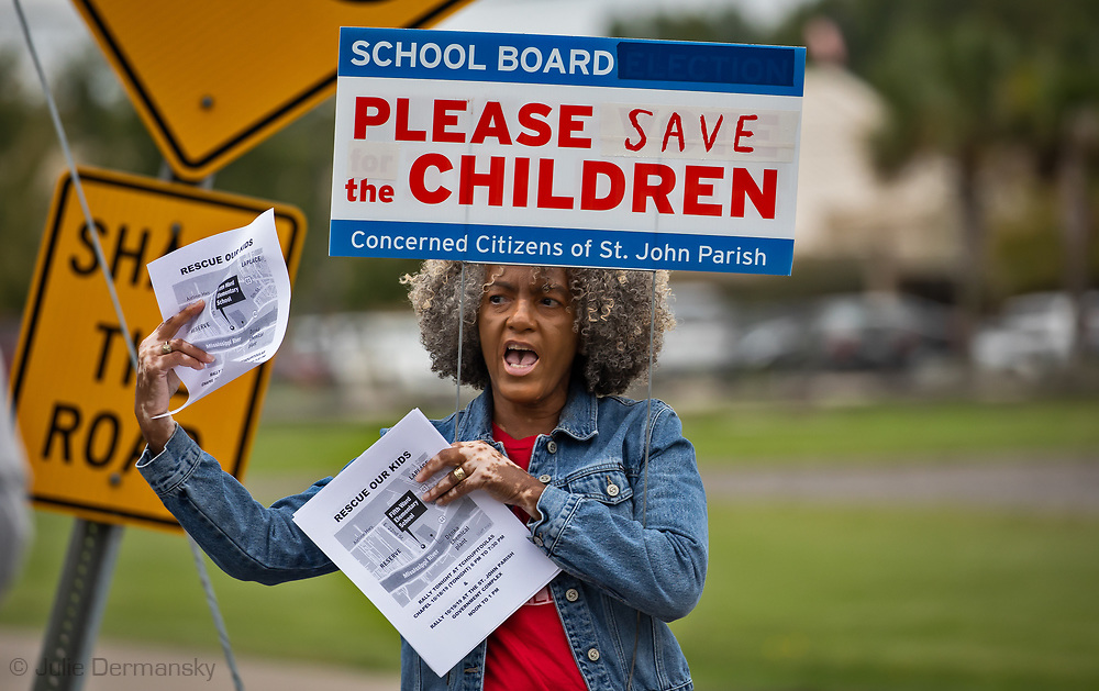 Lydia Gerard, member of the Concerned Citizens of St John protesting outside of the 5th Ward Elemtery School with the Coaliton Against Death Alley on oct. 18th 2019 in Reserve Louisiana.