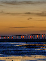 Sunshine Skyway Bridge at Dawn from Fort De Soto Park. Split Print 3 of 6 images taken with a Fuji X-H1 camera and 200 mm f/2 OIS lens (ISO 400, 200 mm, f/4, 1/8 sec). Raw images processed with Capture One Pro and AutoPano Giga Pro.