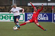 Preston Striker Jasmine Swarbrick challenged during the FA Women's Lancashire Cup Final match between Preston North End Ladies and Blackburn Rovers Women at the County Ground, Leyland, United Kingdom on 28 April 2016. Photo by Pete Burns.