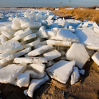 Sea Ice stacked up on the bayside shoreline of Sandy Hook NJ.  The Raritan bay and much of the Shrewsbury and Navesink River in New Jersey were frozen solid after a two week stretch of near zero temperatures.