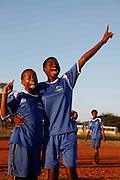 Mabila Gundo celebrates her goal with player number 8 Mabayi Murunwa. Khubvi girls football club. Khubvi Village. Nr Thohoyandou. Venda. Limpopo Province. South Africa. .Action Aid..Pictures by Zute & Demelza Lightfoot. www.lightfootphoto.com zutelightfoot@yahoo.co.uk +27(0)715957308...