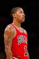 25 December 2011: Guard Derrick Rose of the Chicago Bulls against the Los Angeles Lakers during the second half of the Bulls 88-87 victory over the Lakers at the STAPLES Center in Los Angeles, CA.