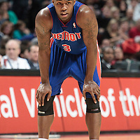 30 October 2010: Detroit Pistons Rodney Stuckey rests during the Chicago Bulls 101-91 victory over the Detroit Pistons at the United Center, in Chicago, Illinois, USA.