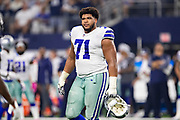 ARLINGTON, TX - OCTOBER 14:  La'el Collins #71 of the Dallas Cowboys walks off the field during a game against the Jacksonville Jaguars at AT&T Stadium on October 14, 2018 in Arlington, Texas.  The Cowboys defeated the Jaguars 40-7.  (Photo by Wesley Hitt/Getty Images) *** Local Caption *** La'el Collins