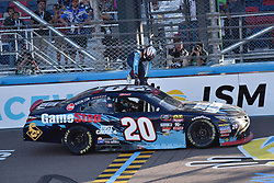November 10, 2018 - Phoenix, Arizona, U.S. - PHOENIX, AZ - NOVEMBER 10:  Xfinity Series playoff contender Christopher Bell (20) Game Stop Toyota climbs out of car and up on roof  after winning the NASCAR Xfinity Series Playoff Race - Whelen 200  on November 10, 2018 at ISM Raceway in Phoenix, AZ.  (Photo by Lyle Setter/Icon Sportswire) (Credit Image: © Lyle Setter/Icon SMI via ZUMA Press)