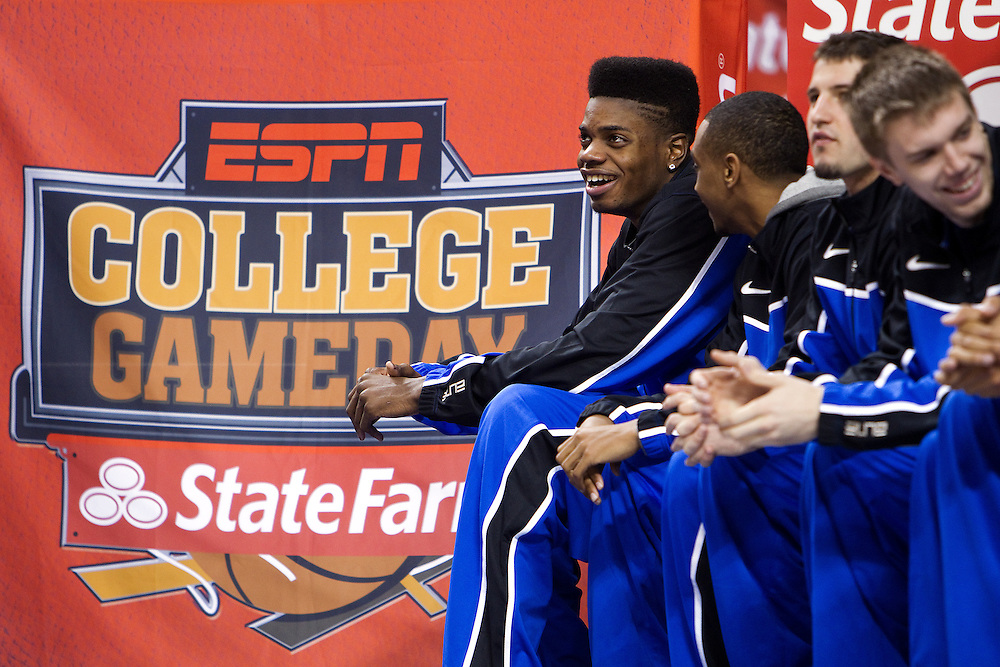 UK forward Nerlens Noel, left, watches the broadcast of ESPN Gameday from Rupp Arena before the Missouri vs. Kentucky game, Saturday, Feb. 23, 2013 in Lexington.