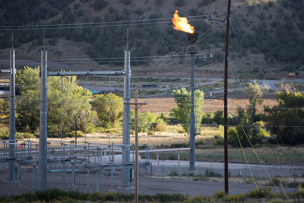 Flare at a fracking industry site in Parachute, Colorado in Garfield County.