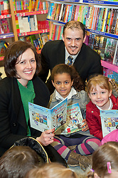 Celebrating World Book Day at Parkgate Shopping Rotherham, Caroline Sense of the National Literacy Trust and Adrian Scott Manager of WH Smiths Parkgate with Rhianna Bramham and Alisha Thorpe of Rycroft School Rotherham..http://www.pauldaviddrabble.co.uk..1 March 2012 -  Image © Paul David Drabble