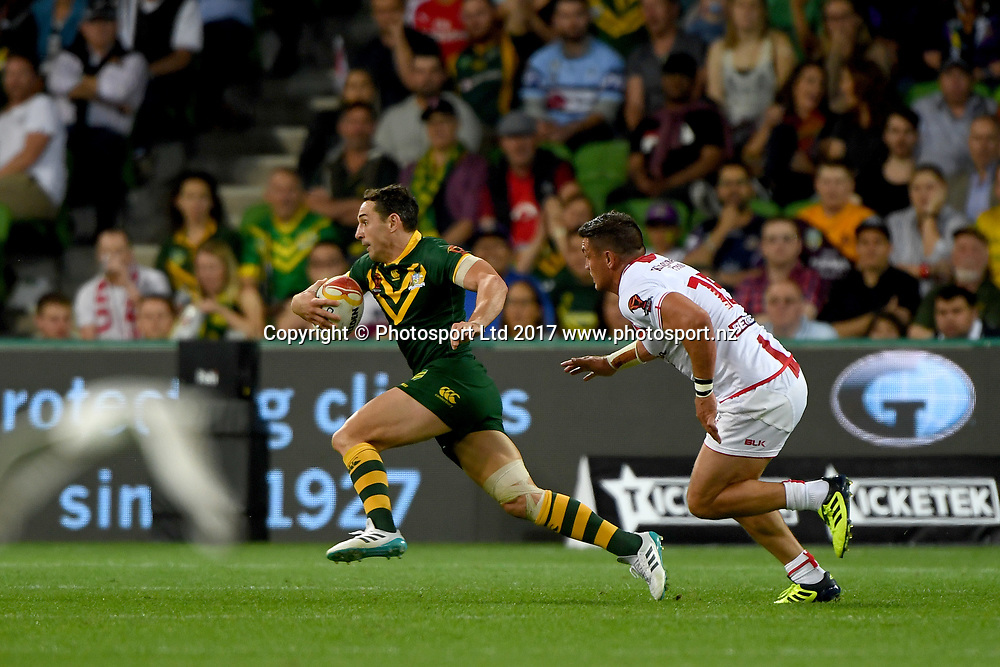 Billy Slater.<br /> RLWC 2017. Australia Kangaroos v England. Rugby League World Cup. Melbourne Rectangular Stadium, Melbourne Australia. Friday 27 October 2017. &copy; www.photosport.nz