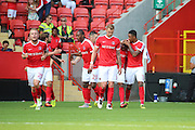 Charlton Athletic forward Ademola Lookman (7) celebrating after scoring 1-1 during the EFL Sky Bet Championship match between Charlton Athletic and Bolton Wanderers at The Valley, London, England on 27 August 2016. Photo by Matthew Redman.