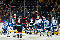 KELOWNA, CANADA - OCTOBER 23:  The Kelowna Rockets celebrate a second period goal against the Swift Current Broncos on October 23, 2018 at Prospera Place in Kelowna, British Columbia, Canada.  (Photo by Marissa Baecker/Shoot the Breeze)