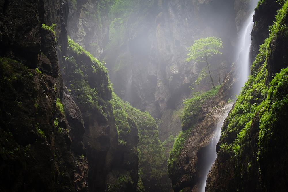 Water cascading over Partnach gorge. Garmisch-Partenkirchen. Upper Bavaria. Germany.