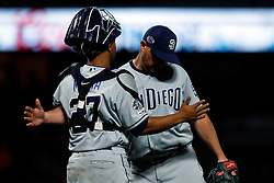 SAN FRANCISCO, CA - APRIL 08: Kirby Yates #39 of the San Diego Padres celebrates with Francisco Mejia #27 after the game against the San Francisco Giants at Oracle Park on April 8, 2019 in San Francisco, California. The San Diego Padres defeated the San Francisco Giants 6-5. (Photo by Jason O. Watson/Getty Images) *** Local Caption *** Kirby Yates; Francisco Mejia