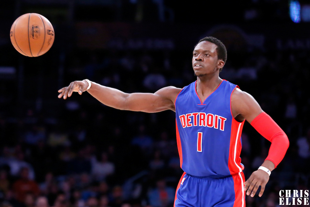 10 March 2015: Detroit Pistons guard Reggie Jackson (1) passes the ball during the Los Angeles Lakers 93-85 victory over the Detroit Pistons, at the Staples Center, Los Angeles, California, USA.
