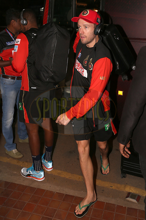 Royal Challengers Bangalore player AB De Villiers arrives during match 50 of the Vivo IPL ( Indian Premier League ) 2016 between the Royal Challengers Bangalore and the Kings XI Punjab held at The M. Chinnaswamy Stadium in Bangalore, India,  on the 18th May 2016<br /> <br /> Photo by Faheem Hussain / IPL/ SPORTZPICS