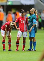 Fotball , EM , Norge - Tyskland 28.juli 2013 , kvinner ,  Sverige , Stockholm , Solna , europamesterskap, finale<br /> Ada Stolsmo Hegerberg<br /> Cathrine Høegh Dekkerhus<br /> Nora Gjøen<br /> Foto: Ole Marius Fjalsett