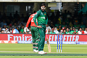 Mohammad Amir of Pakistan looks unhappy after Soumya Sarkar of Bangladesh was dropped by Haris Sohail of Pakistan during the ICC Cricket World Cup 2019 match between Pakistan and Bangladesh at Lord's Cricket Ground, St John's Wood, United Kingdom on 5 July 2019.