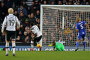 Birmingham City goalkeeper Tomasz Kuszczak saves Derby County striker Darren Bent's strike at goal during the EFL Sky Bet Championship match between Derby County and Birmingham City at the iPro Stadium, Derby, England on 27 December 2016. Photo by Aaron  Lupton.