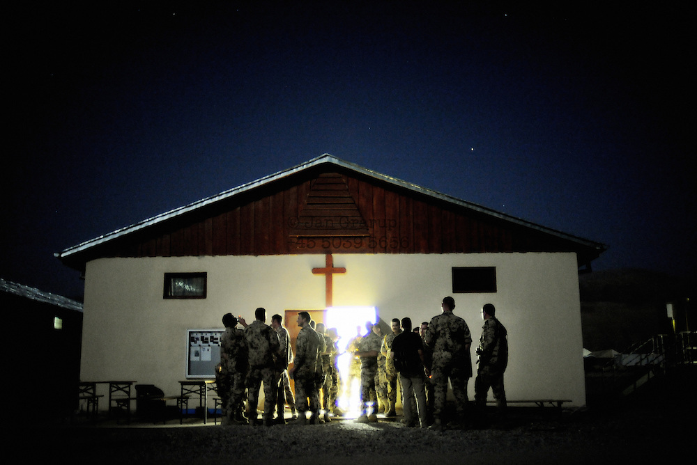 German soldiers after going to church at the ISAF base outside Faizabad.<br /> <br /> For more caption info, please contact photographer.