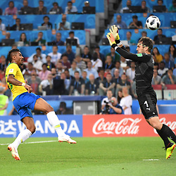 Paulinho of Brazil scores his first side's goal despite of Vladimir Stojkovic of Serbia during the FIFA World Cup Group E match between Serbia and Brazil on June 27, 2018 in Moscow, Russia. (Photo by Anthony Dibon/Icon Sport)