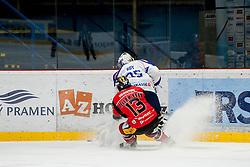 03.01.2017, Ice Rink, Znojmo, CZE, EBEL, HC Orli Znojmo vs EC VSV, 39. Runde, im Bild v.l. Colton Jaret Yellow Horn (HC Orli Znojmo) Olivier Roy (EC VSV) // during the Erste Bank Icehockey League 39th round match between HC Orli Znojmo andEC VSV at the Ice Rink in Znojmo, Czech Republic on 2017/01/03. EXPA Pictures © 2017, PhotoCredit: EXPA/ Rostislav Pfeffer