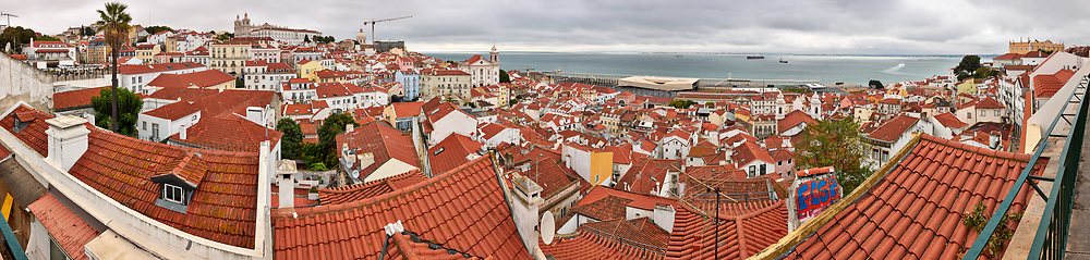 Morning Panorama Over Lisbon. Composite of 17 images taken with a Leica CL camera and 23 mm f/2 lens (ISO 800, 23 mm, f/11, 1/125 sec). Raw images processed with Capture One Pro and the composite generated with AutoPano Giga.