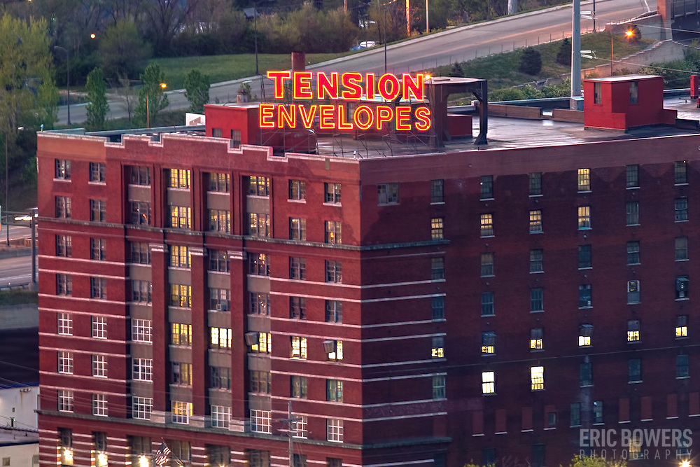 Tension Envelopes Building and Sign, Kansas City, Missouri, early morning.