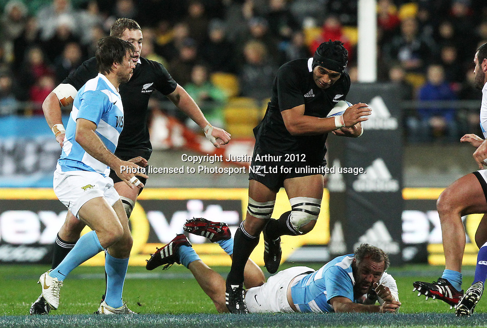 All Blacks' Victor Vito on the attack during the Rugby Championship Union test match. All Blacks v Argentina at Westpac Stadium, Wellington, New Zealand on Saturday 8 September 2012. Photo: Justin Arthur / photosport.co.nz