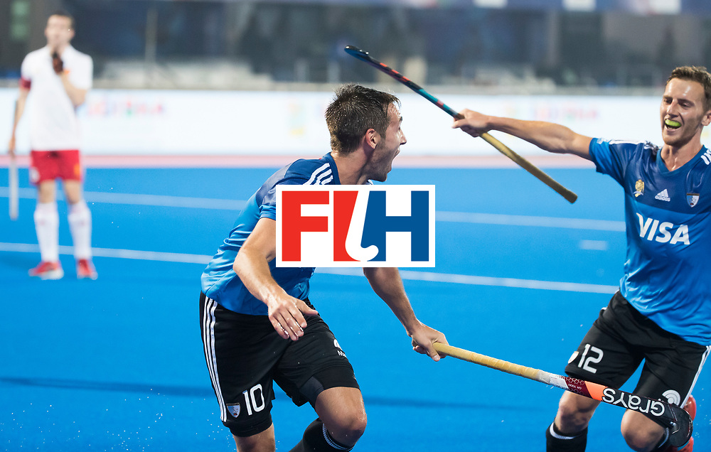 Odisha Men's Hockey World League Final Bhubaneswar 2017<br /> Match id:14<br /> England v Argentina , Quater Final<br /> Foto: Matias Paredes (Arg) scored and celebrates the goal with Lucas Vila (Arg) .<br /> WSP COPYRIGHT KOEN SUYK