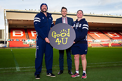 Bristol Bears Joe Latta, Good 4 U's Karol Butler, Bristol Bears Women Kim Oliver - Ryan Hiscott/JMP - 09/01/2019 - COMMERCIAL - Ashton Gate - Bristol, England - Bristol Sport Announce Sponsor Partnership with Good 4 U