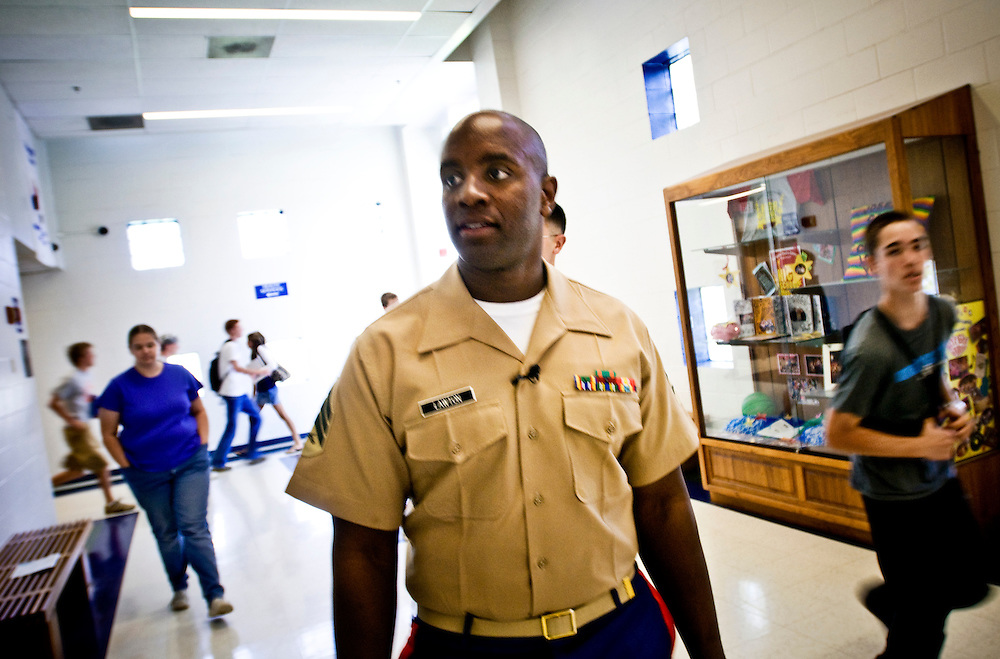 US Marine Timotheus Lawton in a St Louis high school, looking to talk to youth about recruitment...Photographer: Chris Maluszynski /MOMENT
