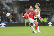 Bristol City forward Andreas Weimann (14) and Derby County defender Krystian Bielik (5) during the EFL Sky Bet Championship match between Derby County and Bristol City at the Pride Park, Derby, England on 20 August 2019.
