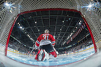 KELOWNA, CANADA - JANUARY 21: Cole Kehler #31 of the Portland Winterhawks stretches in net against the Kelowna Rockets on January 21, 2017 at Prospera Place in Kelowna, British Columbia, Canada.  (Photo by Marissa Baecker/Shoot the Breeze)  *** Local Caption ***