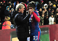Football - 2018 / 2019 Premier League - Crystal Palace vs. Fulham<br /> <br /> New Palace player, Michy Batshuayi is congratulated by Palace Manager, Roy Hodgson after the match, at Selhurst Park.<br /> <br /> COLORSPORT/ANDREW COWIE