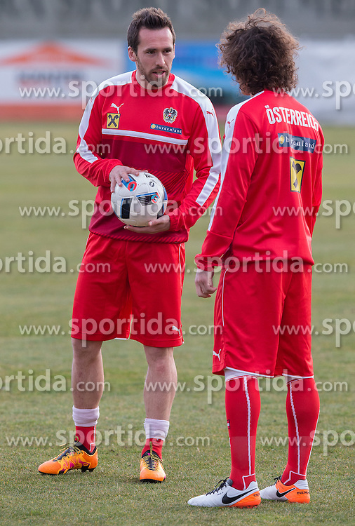22.03.2016, Sportzentrum, Stegersbach, AUT, OeFB Training, im Bild Christian Fuchs (AUT), Julian Baumgartlinger (AUT) // Christian Fuchs (AUT), Julian Baumgartlinger (AUT) during a Trainingssession of Austrian National Footballteam at the Sportcenter in Stegersbach, Austria on 2016/03/22. EXPA Pictures © 2016, PhotoCredit: EXPA/ Dominik Angerer