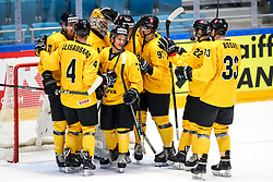 Players of Lithuania celebrate during ice hockey match between South Korea and Lithuania at IIHF World Championship DIV. I Group A Kazakhstan 2019, on May 4, 2019 in Barys Arena, Nur-Sultan, Kazakhstan. Photo by Matic Klansek Velej / Sportida