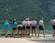Aiguebelette, FRANCE. GBR M4- Gold Medallist congratulate the quad on their win at the  2014 FISA World Cup II, 12:41:17  Sunday  22/06/2014. [Mandatory Credit; Peter Spurrier/Intersport-images]