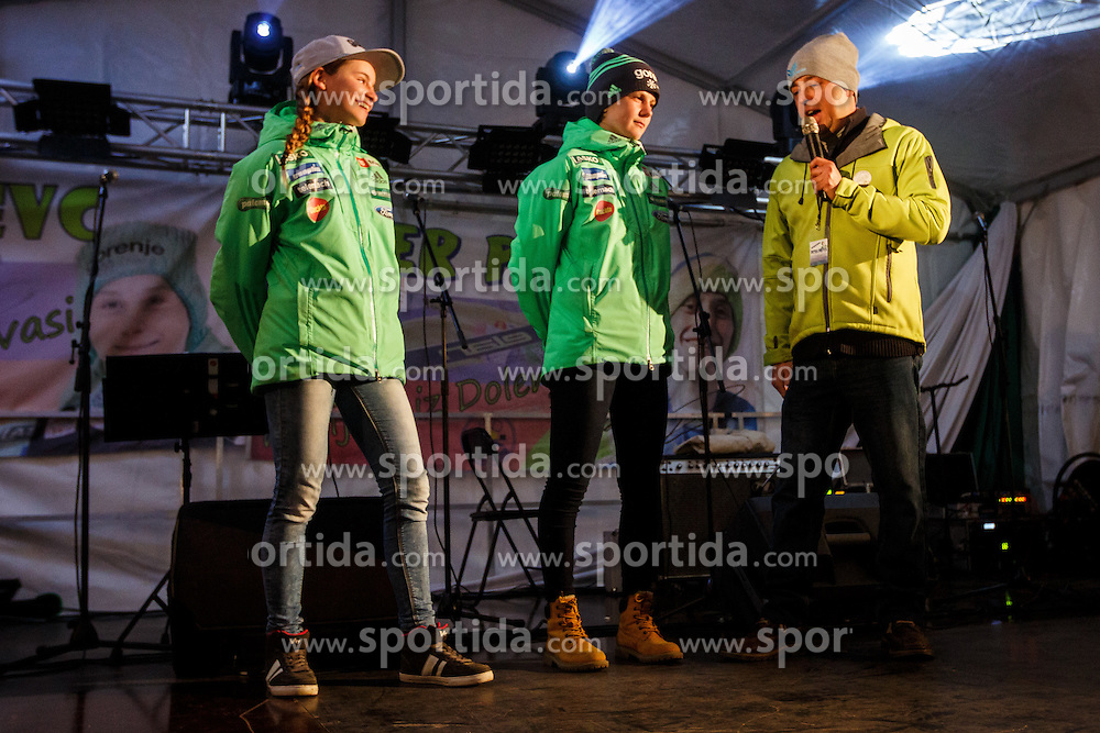 Ema Klinec and Nika Kriznar during reception of Peter Prevc in his home village Dolenja vas, SKofja Loka, Slovenija, on March 23, 2016 in Dolenja vas, Slovenia. Photo by Grega Valancic / Sportida