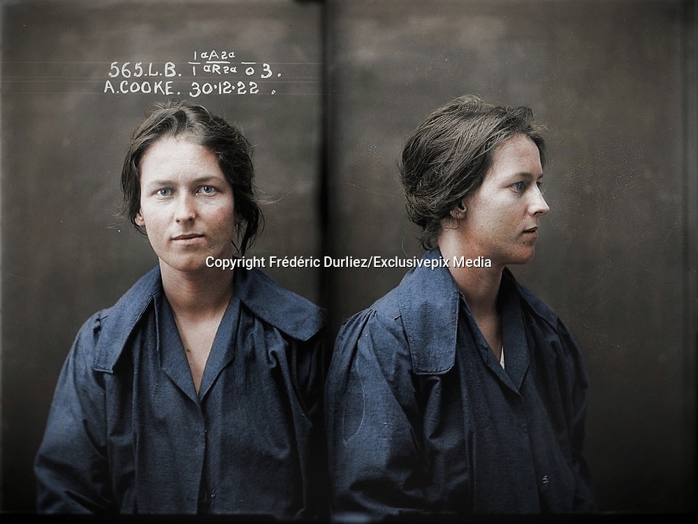 Vintage Mugshots in colour<br /> <br /> Alice Adeline Cooke, criminal record number 565LB, 30 December 1922. State Reformatory for Women, Long Bay, NSW<br /> <br /> Convicted of bigamy and theft. By the age of 24 Alice Cooke had amassed an impressive number of aliases and at least two husbands. Described by police as 'rather good looking', Cooke was a habitual thief and a convicted bigamist. Aged 24. Part of an archive of forensic photography created by the NSW Police between 1912 and 1964.<br /> &copy;Fr&eacute;d&eacute;ric DurIiez/Exclusivepix Media