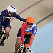 Track Cycling - Olympics: Day 8   Elis Ligtlee of The Netherlands is congratulated by Rebecca James of Great Britain after winning the gold medal in the Women's Keirin Final during the track cycling competition at the Rio Olympic Velodrome August 12, 2016 in Rio de Janeiro, Brazil. (Photo by Tim Clayton/Corbis via Getty Images)