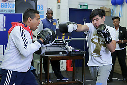 © London News Pictures. 27/06/2017. London, UK. A young boxer sparring at the event launch. The Mayor of London, Sadiq Khan and the Met Police Commissioner, Cressida Dick, launches a knife crime strategy at Dwaynamics Boxing Club, which will tackle the deeply concerning rise in knife crime across the capital, especially among young Londoners. Photo credit: Dinendra Haria/LNP