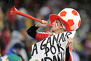 A Paraguay Fan blows her Vuvuzela during the 2010 FIFA World Cup South Africa Group F match between Italy and Paraguay at Green Point Stadium on June 14, 2010 in Cape Town, South Africa.