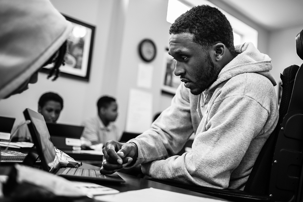 BALTIMORE, MD -- 3/6/17 -- Van Brooks runs the Safe Alternative Center, which he started to give middle school kids in West Baltimore a safe place to learn and play. <br /> <br /> Brooks was a Division 1 prospect when he played football in high school, but was paralyzed in a freak accident after making a tackle in his junior year. He regained the use of his arms, even walking again with much assistance, and graduated on time from high school. He later earned a degree in marketing from Towson University. Though still confined to a wheelchair, he is self-sufficient and runs the center.&hellip;by Andr&eacute; Chung #_AC21499