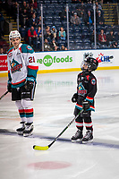 KELOWNA, CANADA - JANUARY 16: The Pepsi Player of the game lines up next to Schael Higson against the Moose Jaw Warriors  on January 16, 2019 at Prospera Place in Kelowna, British Columbia, Canada.  (Photo by Marissa Baecker/Shoot the Breeze)