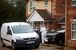 © Licensed to London News Pictures. 20/10/2019. Milton Keynes, UK. Police forensic officers investigate the scene in Archford Croft in Emerson Valley where two 17 year old boys were stabbed to death overnight. Two adult males where also injured. Thames Valley Police have begun a double murder investigation but have yet to make any arrests. Photo credit: Cliff Hide/LNP