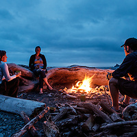 Nights on the beach are spent drinking and talking around the fire with good friends.