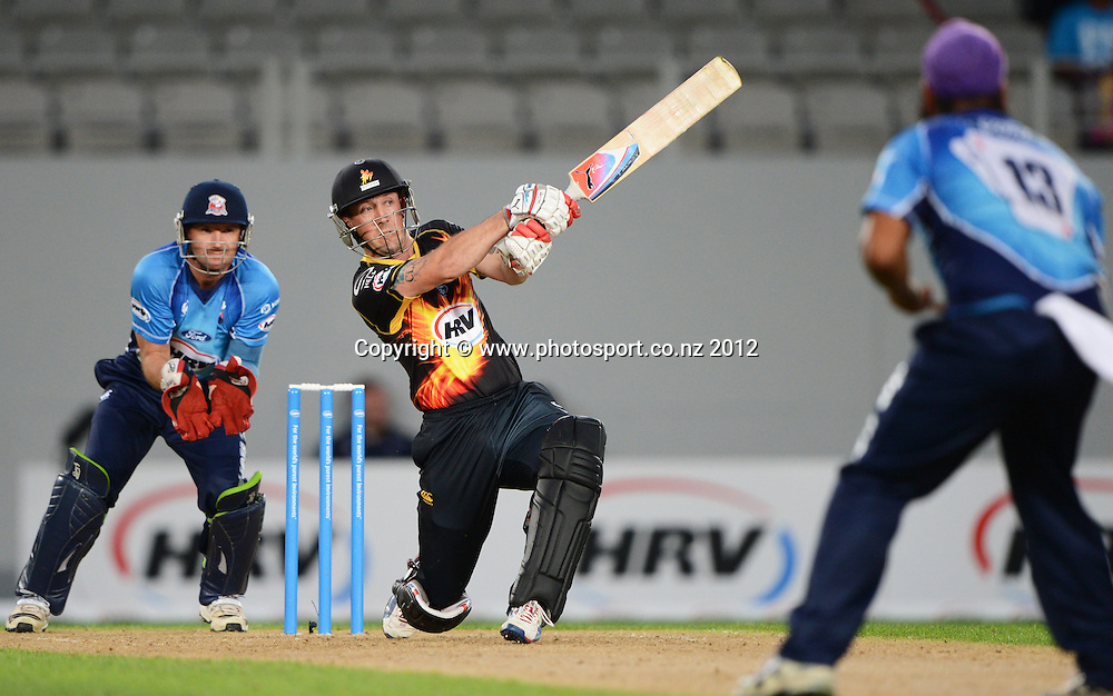 Wellington's Luke Ronchi batting during the HRV Cup Twenty20 Cricket match between Auckland Aces and Wellington Firebirds at Eden Park on Friday 28 December 2012. Photo: Andrew Cornaga/Photosport.co.nz
